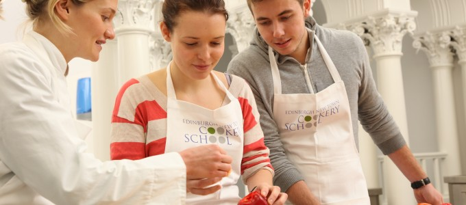 A class at the Edinburgh New Town Cookery School