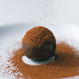 A dark chocolate truffle