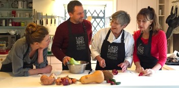 Christine chats to students at one of her cookery classes
