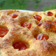 Pillowy focaccia with cherry tomatoes