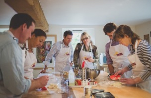 Students at Dancing Trousers cookery school