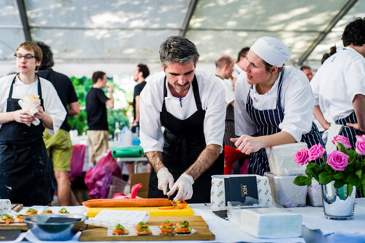 Chefs in canape action at the Soho Food Festival in central London